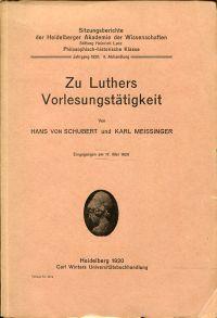 Zu Luthers Vorlesungstätigkeit.