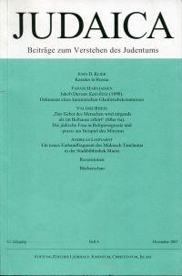 Judaica. Beiträge zum Verstehen des Judentums. 63. Jahrgang, Heft 4, Dezember 2007