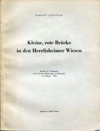 Kleine, rote Brücke in den Herrlisheimer Wiesen.