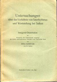 Untersuchungen über das Verhältnis von Satzrhythmus und Wortstellung bei Sallust.