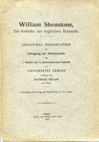 William Shenstone. Ein Vorläufer der englischen Romantik.