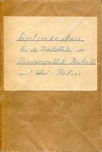 Sigelverzeichnis für die Bibliotheken der Bundesrepublik Deutschland und West-Berlins.