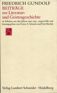 Beiträge zur Literatur- und Geistesgeschichte.