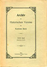 Archiv des Historischen Vereins des Kantons Bern, 27. Band, Heft 2 (1924).