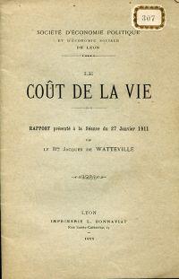 Coût de la vie. rapport présenté à la Séance du 27 janvier 1911.