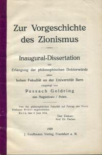 Zur Vorgeschichte des Zionismus.