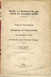 Bonifaz von Montferrat bis zum Antritt der Kreuzfahrt (1202). (Teildruck.)
