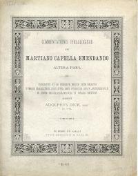 Commentationis philologicae de Martiano Capella emendando. Altera Pars.