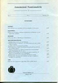 Annotazioni Numismatiche 3. Anno 1, Serie 1, Settembre 1991.