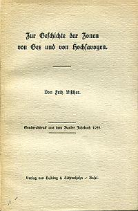 Zur Geschichte der Zonen von Gex und von Hochsavoyen.