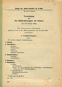 Verordnung über die Beförderungen im Heere. (Vom 13. Okt. 1939).