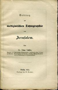 Beitrag zur medizinischen Topographie von Jerusalem.