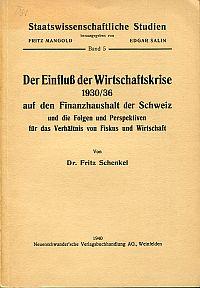 Der Einfluß der Wirtschaftskrise 1930/36 auf den Finanzhaushalt der Schweiz und die Folgen und Perspektiven für das Verhältnis von Fiskus und Wirtschaft.