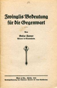 Zwinglis Bedeutung für die Gegenwart.
